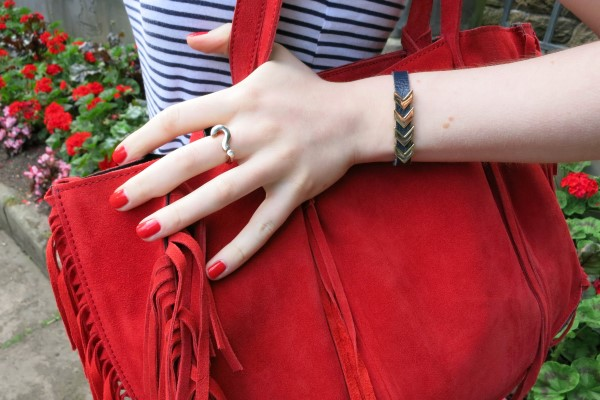optimistic outfit red handbag lifestyle blogger